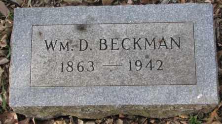 BECKMAN, WM. D. - Yankton County, South Dakota | WM. D. BECKMAN - South Dakota Gravestone Photos
