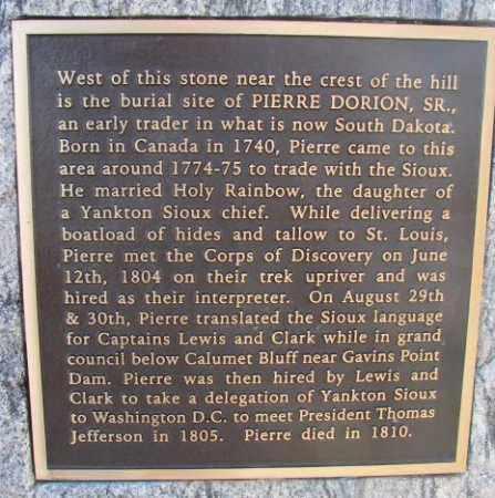 DORION, PIERRE SR. (CLOSE UP) - Yankton County, South Dakota | PIERRE SR. (CLOSE UP) DORION - South Dakota Gravestone Photos