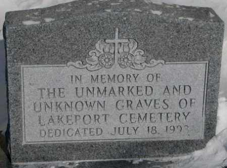 ***LAKEPORT, UNKNOWN GRAVES - Yankton County, South Dakota | UNKNOWN GRAVES ***LAKEPORT - South Dakota Gravestone Photos