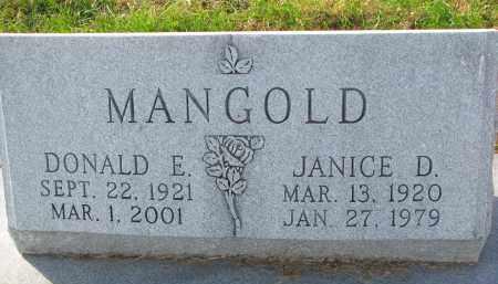 MANGOLD, DONALD E. - Yankton County, South Dakota | DONALD E. MANGOLD - South Dakota Gravestone Photos