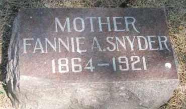 SNYDER, FANNIE A. - Yankton County, South Dakota | FANNIE A. SNYDER - South Dakota Gravestone Photos