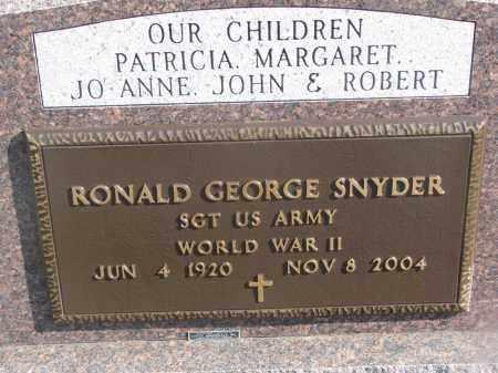 SNYDER, RONALD GEORGE (MILITARY) - Yankton County, South Dakota   RONALD GEORGE (MILITARY) SNYDER - South Dakota Gravestone Photos