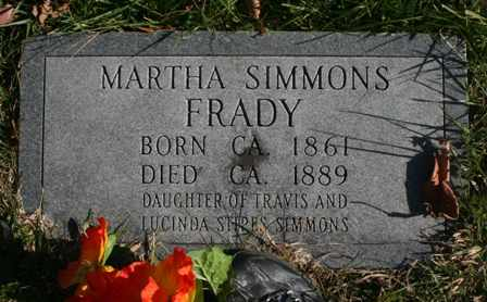 SIMMONS FRADY, MARTHA - Bledsoe County, Tennessee | MARTHA SIMMONS FRADY - Tennessee Gravestone Photos