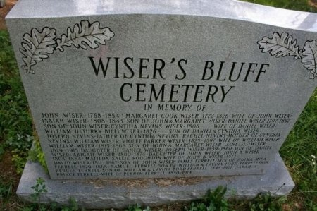WISER'S BLUFF SIGN,  - Coffee County, Tennessee    WISER'S BLUFF SIGN - Tennessee Gravestone Photos