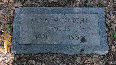 MCKNIGHT DACUS, ANNE - Fayette County, Tennessee | ANNE MCKNIGHT DACUS - Tennessee Gravestone Photos