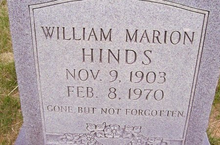 HINDS, WILLIAM MARION - Fentress County, Tennessee | WILLIAM MARION HINDS - Tennessee Gravestone Photos