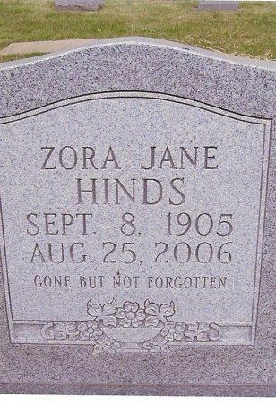 HINDS, ZORA JANE - Fentress County, Tennessee | ZORA JANE HINDS - Tennessee Gravestone Photos