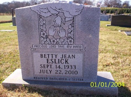 ESLICK, BETTY JEAN - Franklin County, Tennessee | BETTY JEAN ESLICK - Tennessee Gravestone Photos