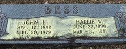 BESS, HALLIE W. - Grundy County, Tennessee | HALLIE W. BESS - Tennessee Gravestone Photos