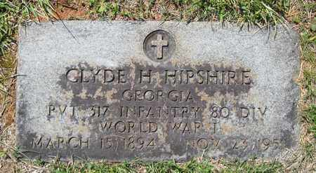 HIPSHIRE  (VETERAN WWI), CLYDE H - Hamblen County, Tennessee   CLYDE H HIPSHIRE  (VETERAN WWI) - Tennessee Gravestone Photos