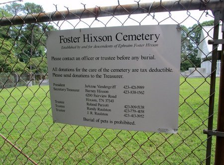 *FOSTER HIXSON SIGN,  - Hamilton County, Tennessee |  *FOSTER HIXSON SIGN - Tennessee Gravestone Photos