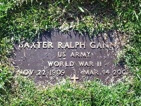 GANN (VETERAN WWII), BAXTER RALPH - Hamilton County, Tennessee | BAXTER RALPH GANN (VETERAN WWII) - Tennessee Gravestone Photos