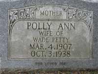 PETTY, POLLY ANN - Jackson County, Tennessee | POLLY ANN PETTY - Tennessee Gravestone Photos
