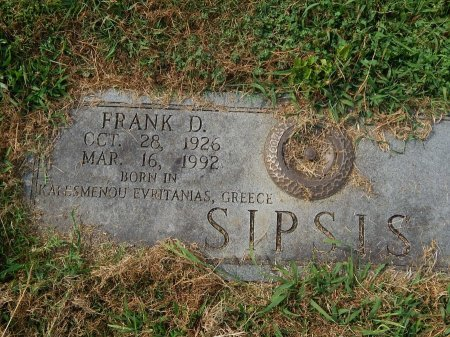 SIPSIS, FRANK D - Knox County, Tennessee | FRANK D SIPSIS - Tennessee Gravestone Photos