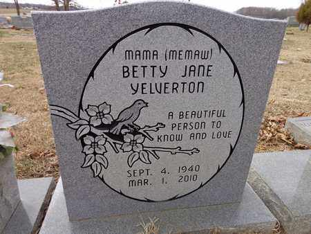 YELVERTON, BETTY JANE - Lawrence County, Tennessee | BETTY JANE YELVERTON - Tennessee Gravestone Photos