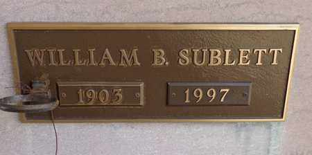 SUBLETT, WILLIAM B - Lewis County, Tennessee | WILLIAM B SUBLETT - Tennessee Gravestone Photos