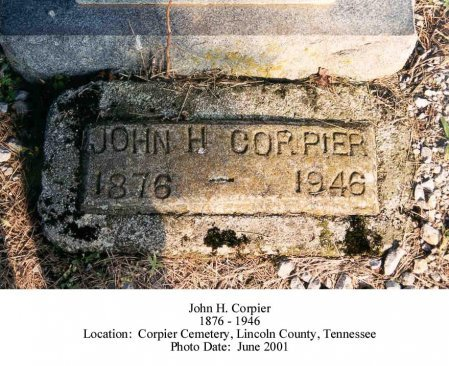 CORPIER, JOHN H (ORIGINAL STONE) - Lincoln County, Tennessee | JOHN H (ORIGINAL STONE) CORPIER - Tennessee Gravestone Photos