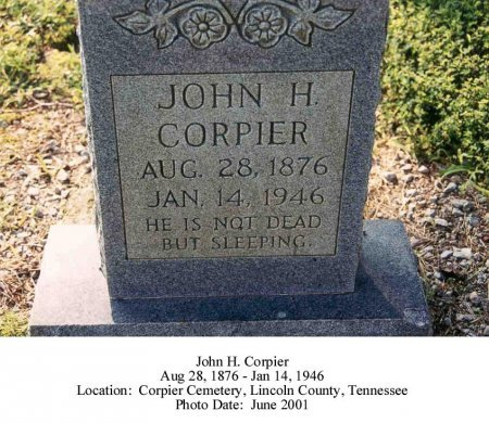 CORPIER, JOHN H - Lincoln County, Tennessee | JOHN H CORPIER - Tennessee Gravestone Photos