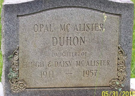 MCALISTER DUHON, OPAL - Lincoln County, Tennessee | OPAL MCALISTER DUHON - Tennessee Gravestone Photos