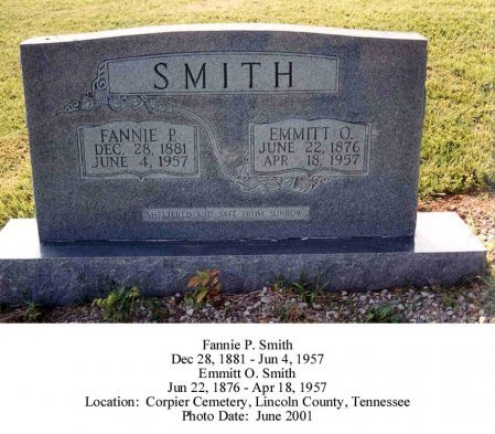 SMITH, FANNIE P - Lincoln County, Tennessee   FANNIE P SMITH - Tennessee Gravestone Photos