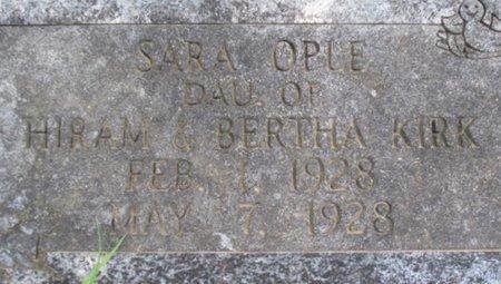 KIRK, SARA OPLE - McNairy County, Tennessee | SARA OPLE KIRK - Tennessee Gravestone Photos