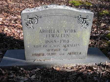 YORK LEWALLEN, ARDILLA - Scott County, Tennessee | ARDILLA YORK LEWALLEN - Tennessee Gravestone Photos