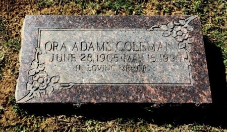 ADAMS COLEMAN, ORA - Shelby County, Tennessee | ORA ADAMS COLEMAN - Tennessee Gravestone Photos