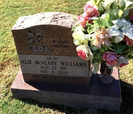 MCNEARY WILLIAMS, ALIE - Shelby County, Tennessee | ALIE MCNEARY WILLIAMS - Tennessee Gravestone Photos