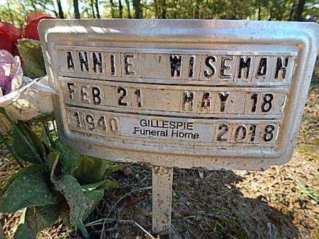 WISEMAN, ANNIE - Shelby County, Tennessee | ANNIE WISEMAN - Tennessee Gravestone Photos
