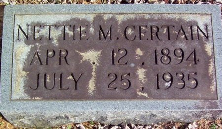 CERTAIN, NETTIE M. - Warren County, Tennessee | NETTIE M. CERTAIN - Tennessee Gravestone Photos