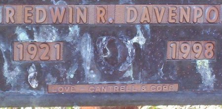 DAVENPORT, EDWIN R. - Warren County, Tennessee | EDWIN R. DAVENPORT - Tennessee Gravestone Photos