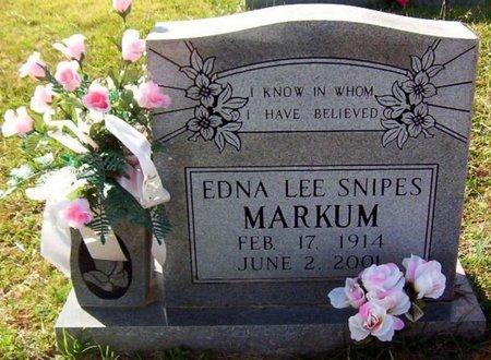 SNIPES MARKUM, EDNA LEE - Warren County, Tennessee | EDNA LEE SNIPES MARKUM - Tennessee Gravestone Photos