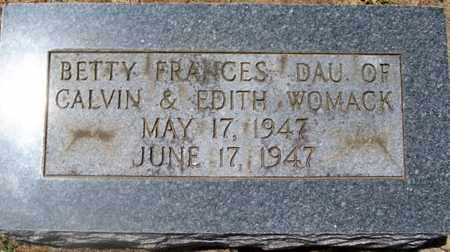 WOMACK, BETTY FRANCES - Warren County, Tennessee | BETTY FRANCES WOMACK - Tennessee Gravestone Photos
