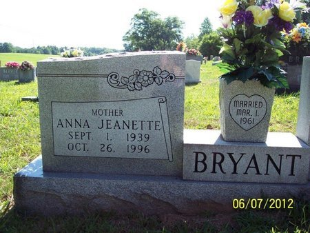 BROOM BRYANT, ANNA JEANETTE - White County, Tennessee | ANNA JEANETTE BROOM BRYANT - Tennessee Gravestone Photos
