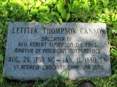 THOMPSON CANNON, LETITIA - Williamson County, Tennessee   LETITIA THOMPSON CANNON - Tennessee Gravestone Photos