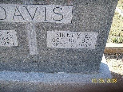 DAVIS, SIDNEY ETHEL (CLOSEUP) - Bell County, Texas | SIDNEY ETHEL (CLOSEUP) DAVIS - Texas Gravestone Photos