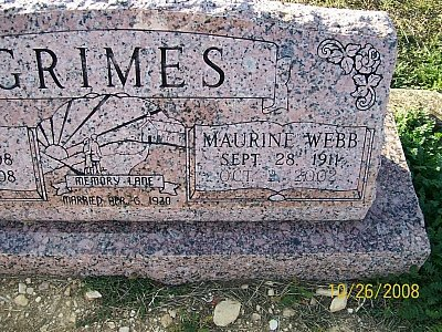 "GRIMES, BONNIE ""MAURINE""  (CLOSEUP) - Bell County, Texas | BONNIE ""MAURINE""  (CLOSEUP) GRIMES - Texas Gravestone Photos"