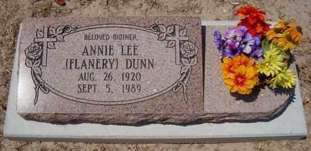 FLANERY DUNN, ANNIE LEE - Bowie County, Texas | ANNIE LEE FLANERY DUNN - Texas Gravestone Photos