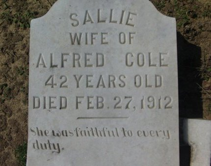 COLE, SALLIE - Cass County, Texas | SALLIE COLE - Texas Gravestone Photos