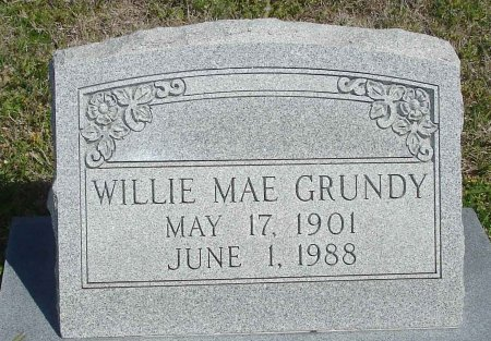 GRUNDY, WILLIE MAE - Cooke County, Texas | WILLIE MAE GRUNDY - Texas Gravestone Photos