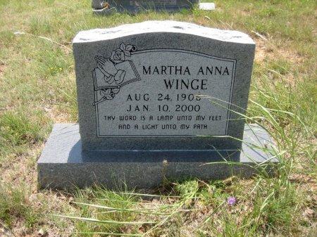 WINGE, MARTHA ANNA - Eastland County, Texas | MARTHA ANNA WINGE - Texas Gravestone Photos