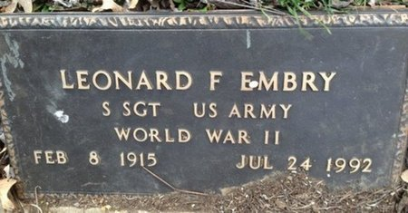 EMBRY (VETERAN WWII), LEONARD F - Ellis County, Texas | LEONARD F EMBRY (VETERAN WWII) - Texas Gravestone Photos