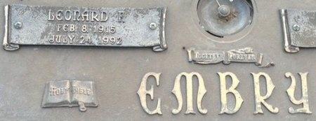 EMBRY, LEONARD F (CLOSE UP) - Ellis County, Texas   LEONARD F (CLOSE UP) EMBRY - Texas Gravestone Photos