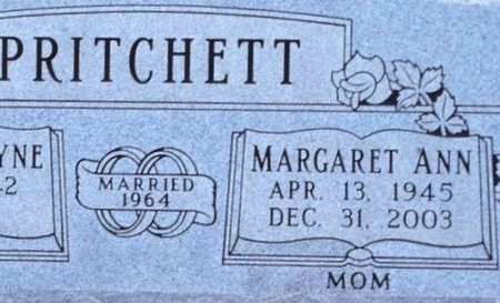 PRITCHETT, MARGARET ANN (CLOSE UP) - Ellis County, Texas | MARGARET ANN (CLOSE UP) PRITCHETT - Texas Gravestone Photos