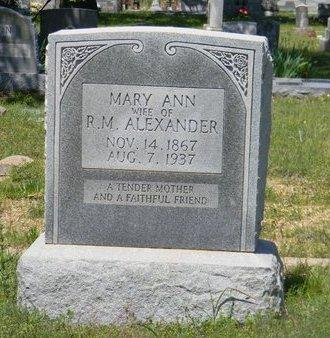 ALEXANDER, MARY ANN - Erath County, Texas | MARY ANN ALEXANDER - Texas Gravestone Photos