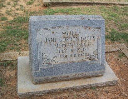 GORDON DACUS, NINA JANE - Erath County, Texas | NINA JANE GORDON DACUS - Texas Gravestone Photos