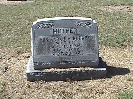 BURKES HARLAN, SARAH E. - Falls County, Texas | SARAH E. BURKES HARLAN - Texas Gravestone Photos