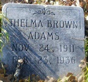 BROWN ADAMS, THELMA - Fannin County, Texas   THELMA BROWN ADAMS - Texas Gravestone Photos