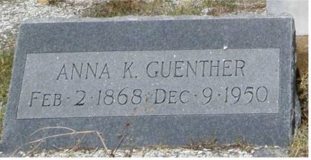 KOSSBIEL GUENTHER, ANNA K - Fayette County, Texas   ANNA K KOSSBIEL GUENTHER - Texas Gravestone Photos