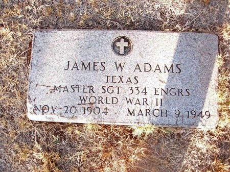 ADAMS (VETERAN WWII), JAMES W. - Fisher County, Texas | JAMES W. ADAMS (VETERAN WWII) - Texas Gravestone Photos